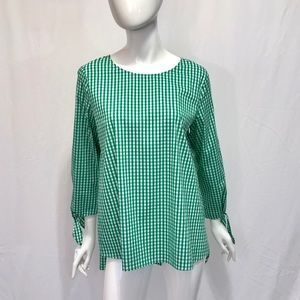 Vince Camuto Green and White Checkered Shirt